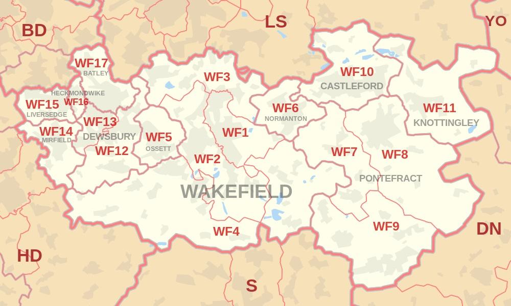 Wakefield and WF postcode map
